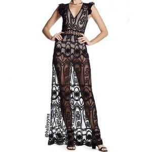 Haute Rogue Sheer Embroidered Mesh Maxi Dress